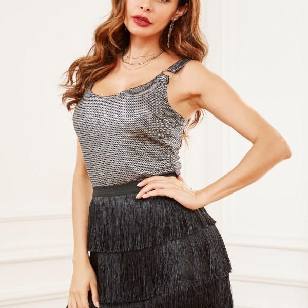 Black Tiered Design Fringe Elastic Waist Skirt 2