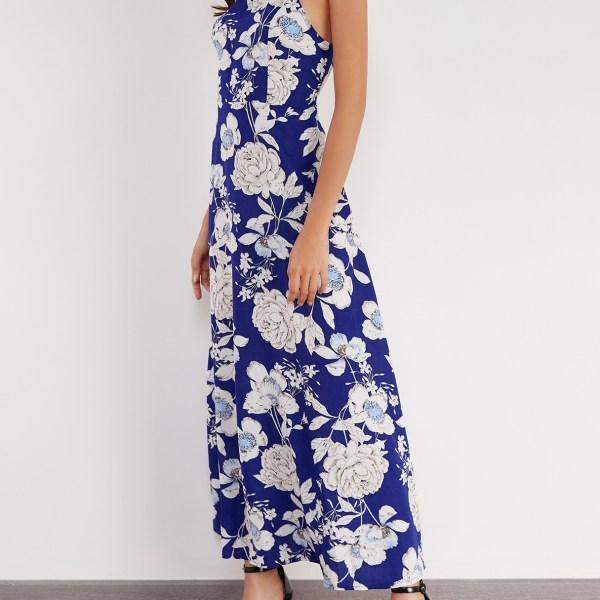 Vacation Random Floral Print Maxi Dress in Navy 2