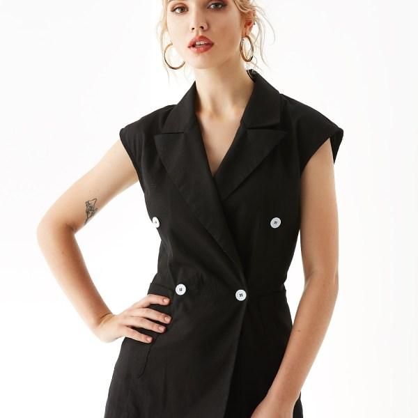 YOINS Black Wrap Design Notch Collar Waistcoat 2