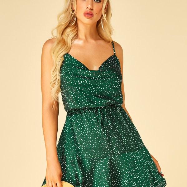 Green Adjustable Shoulder Straps Polka Dot V-neck Dress 2