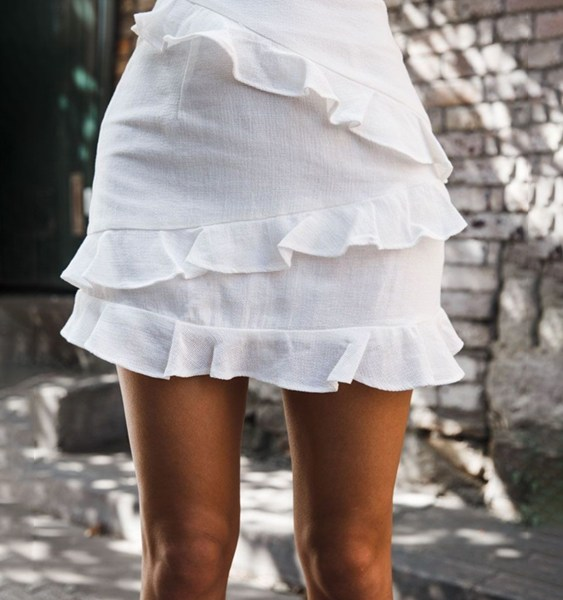 White Ruffle Trim Middle-Waisted Skirt 2