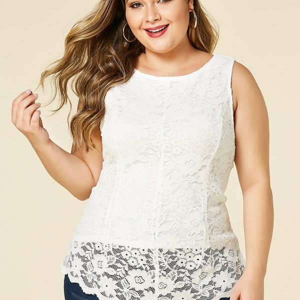 YOINS Plus Size White Lace Round Neck Sleeveless Top 2
