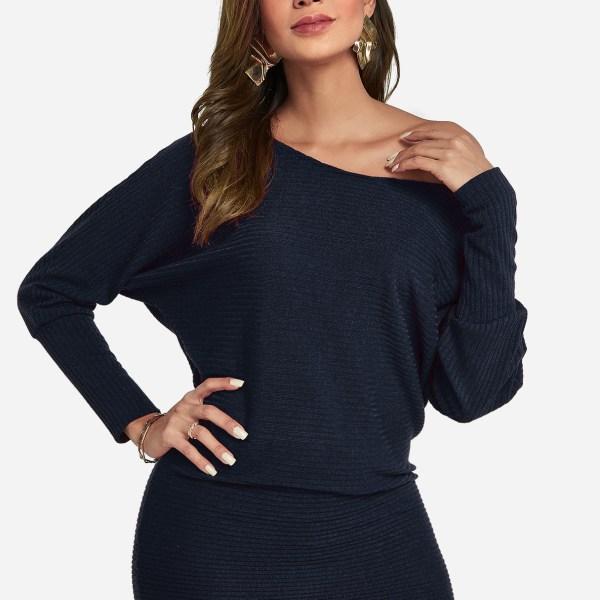 Navy One Shoulder Dolman Sleeve Knitted Dress 2