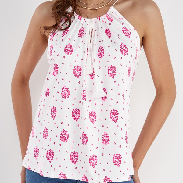 White Floral Print Lace-up Design Drawstring Round Neck Camis 2