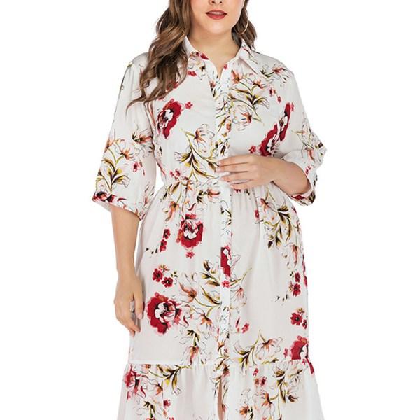 Plus Size White Button Design Random Floral Print Half Sleeves Dress 1