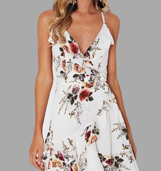 White Random Floral Print Flouncy Details Lace-up Back Dress 2