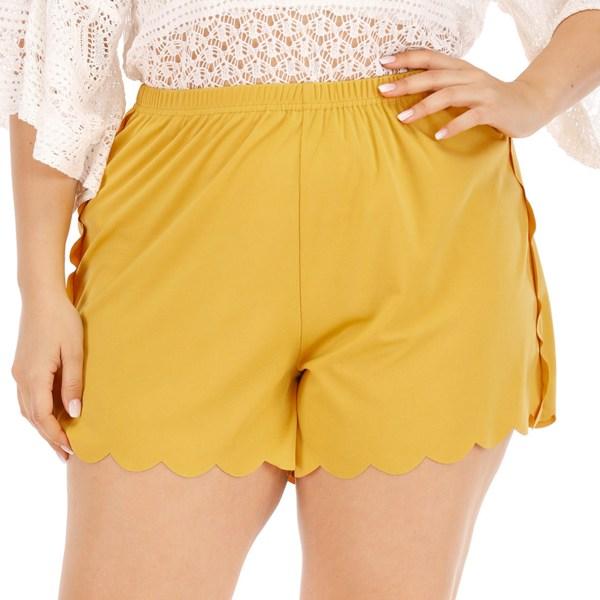 Plus Size Yellow Elastic Waist Shorts 2