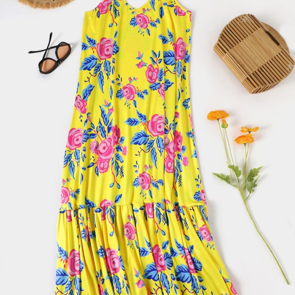 Yellow Backless Random Floral Print Ruffle Trim V-neck Sleeveless Spaghetti Strap Dress 2