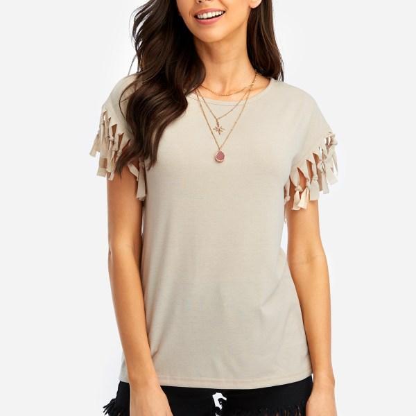 Khaki Scoop Neck T-shirt With Tassel Details 2