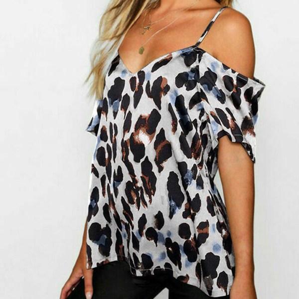 White Backless Design Leopard Cold Shoulder Short Sleeves Blouse 2