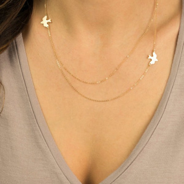 Gold Color Bird Shape Metal Clavicle Necklace 2