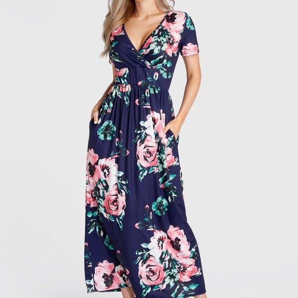 Navy Floral Print V-neck Pleated Short Sleeves Dress 2