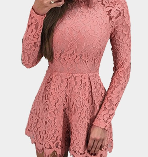 Pink Open Back Eyelash Trim Sexy Lace Playsuits 2