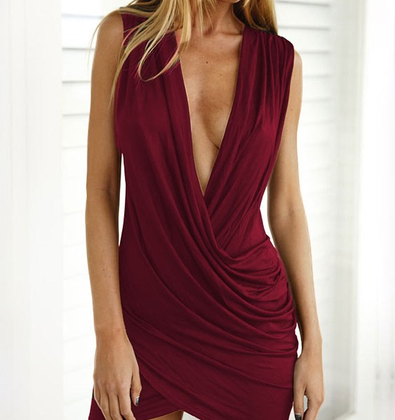 Burgundy Crossed Front Design Pleated V-neck Sleeveless Sexy Dress 2