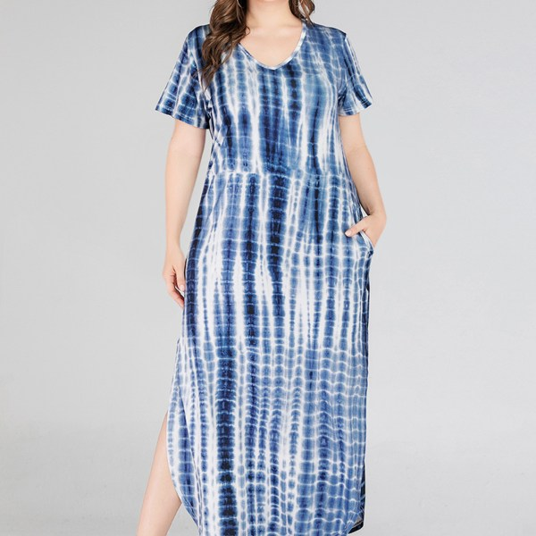 Plus Size Blue Slit Design Tie Dye V-neck Short Sleeves Dress 1