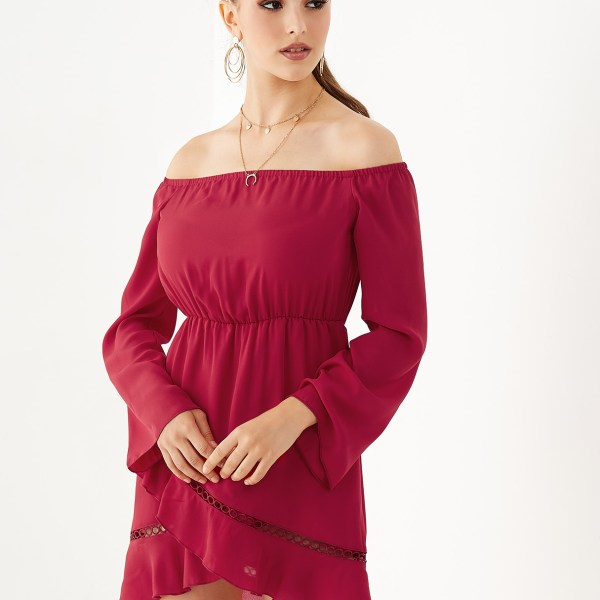YOINS Burgundy Hollow Design Off The Shoulder Dress 2