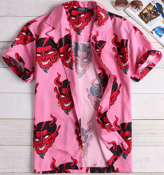 Men Fashion Cartoon Print Short Sleeve Shirt 2