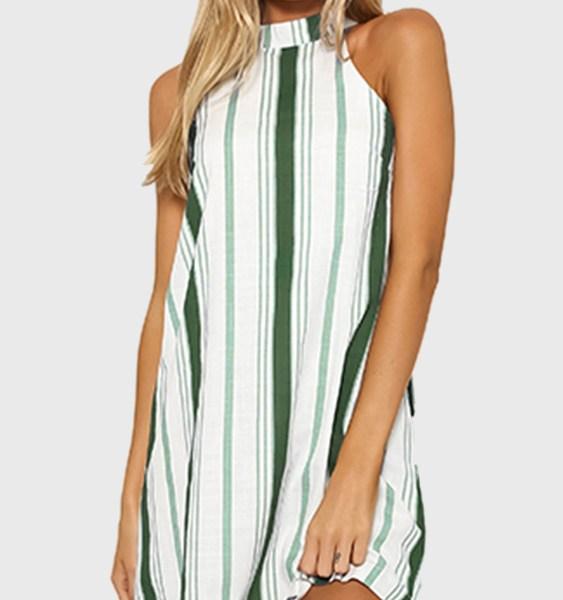 Green Stripe Halter Neck Mini Dress 2