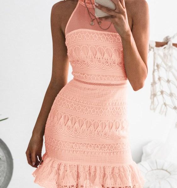 Pink Gorgeous Lace See-through Sleeveless Mini Dress 2