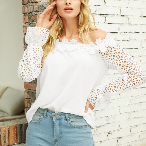YOINS White Hollow Design Off The Shoulder Long Sleeves Blouse 2