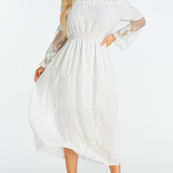 White Lace Insert Off The Shoulder Flared Sleeves Dress 2