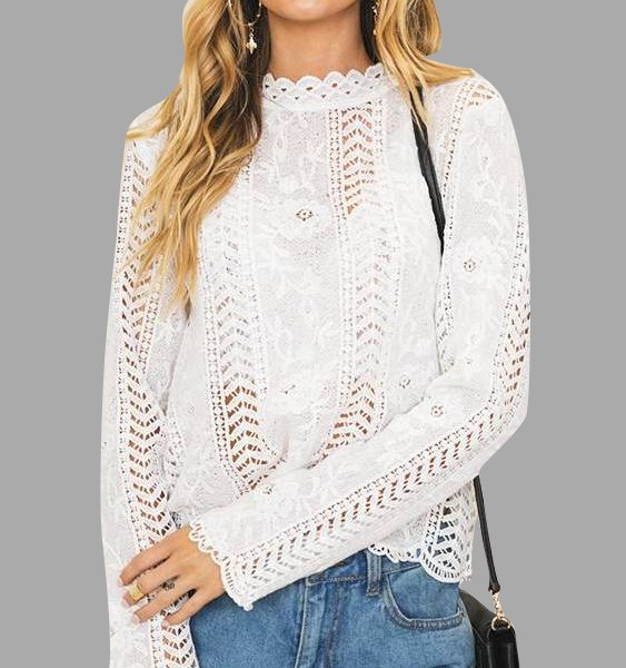 White Hollow Details Lace Insert Blouses 2