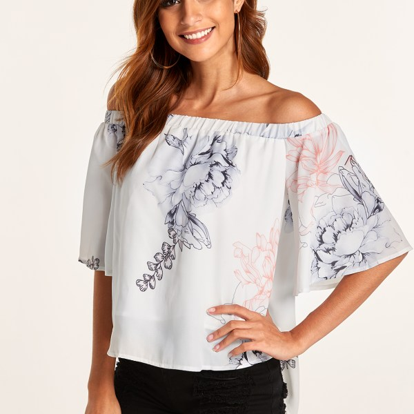 Random Floral Print Elastic Off Shoulder Chiffon Blouse in White 2