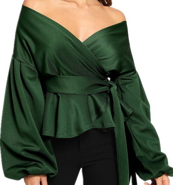 Off The Shoulder Long Sleeves Tie-up Design Blouse 1