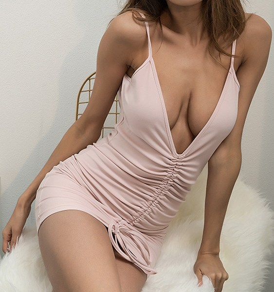 Pink Ruched Backless Lace-up Design Deep V Neck Spaghetti Strap Dress 1