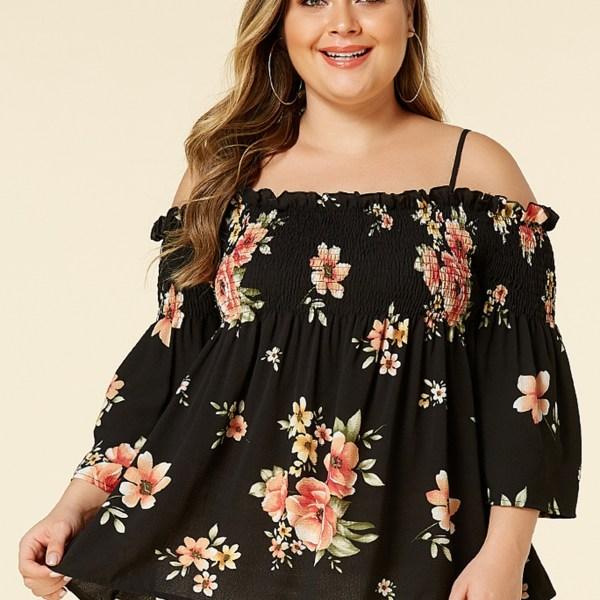 Plus Size Black Off the shoulder Random Floral Print Blouse 2