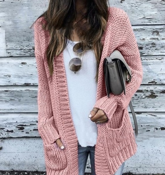 Side Pockets Knit Long Sleeves Cardigan 2