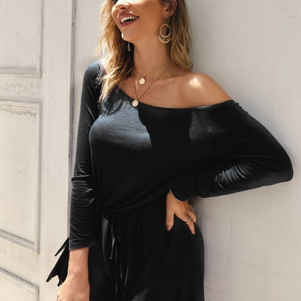 Black Off The Shoulder Drawstring Waist Short Playsuit 2