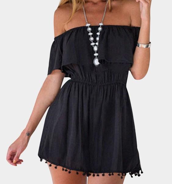Black Front Layered Off Shoulder Dresses 2