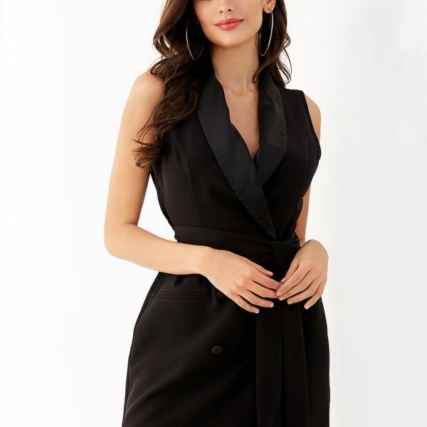 YOINS Black V-neck Belt Design Sleeveless Wrap Dress 2