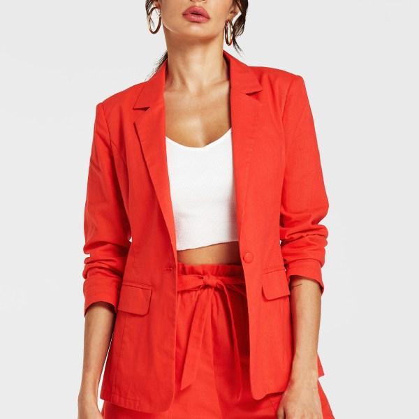 YOINS Orange Revere Collar Long Sleeves Blazer 2