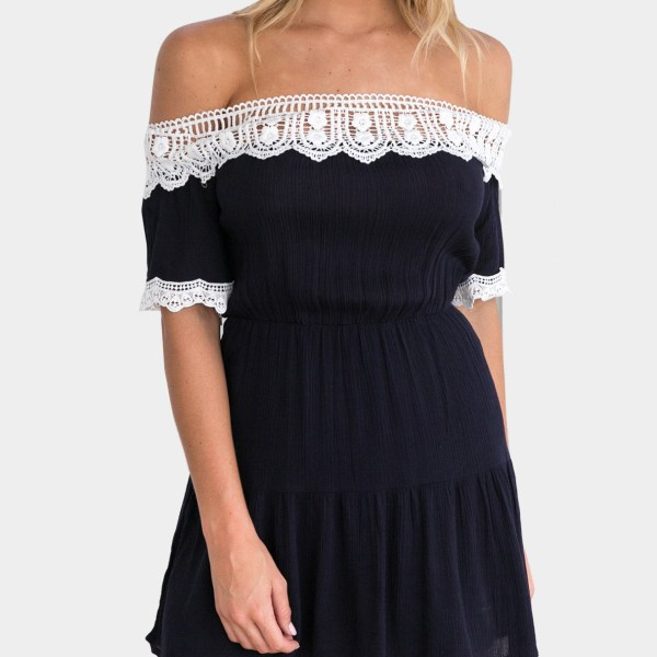 Sweet Off-The-Shoulder with White Lace Trim Mini Dress in Navy 2