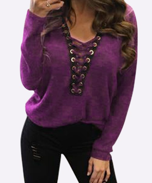 Sexy Deep V-neck Lace-up Front Casual T-shirts in Fuchsia 2