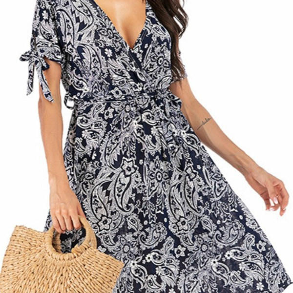 Navy Belted Random Floral Print Deep V Neck Short Sleeves Dress 1