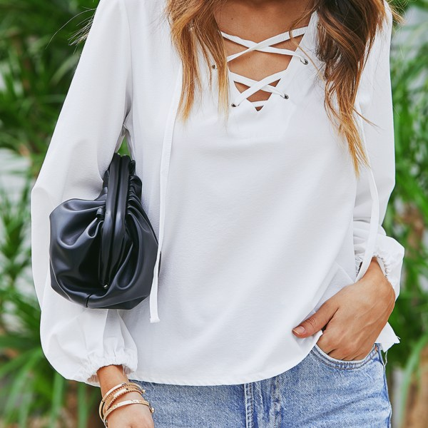 YOINS White Lace-up Design V Neck Lantern Sleeves Top 1
