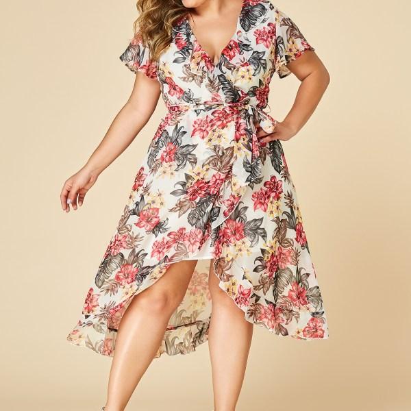 YOINS Plus Size Floral Print Deep V Neck Self-tie Design Dress 2