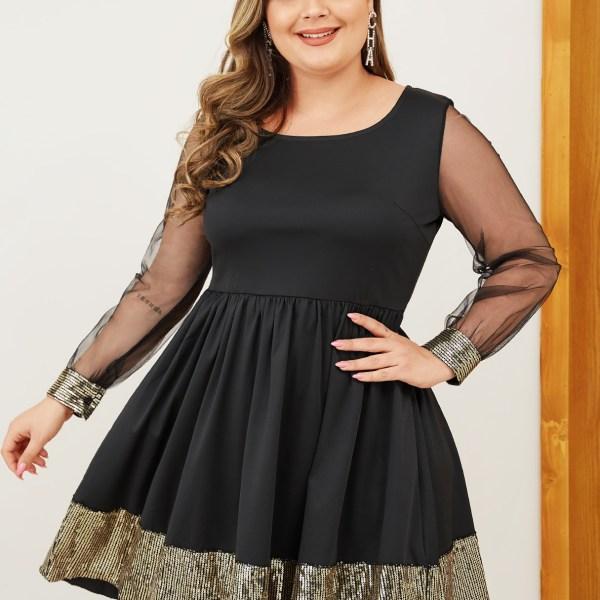 Plus Size Black Sequins Embellished Mesh Patchwork Dress 2