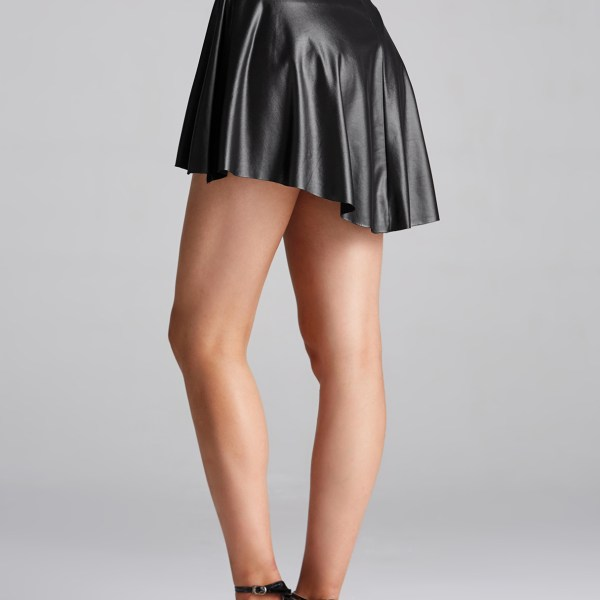 Black Flared Pleated Faux Leather Skirt 2
