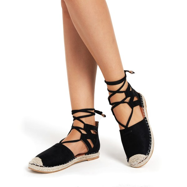 Black Lace-up Design Casual Sandals 2