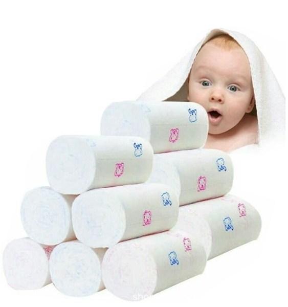 12 Rolls 4-ply Sanitary Roll Paper Bear Print Coreless Pure Wood Pulp Toilet Paper 2