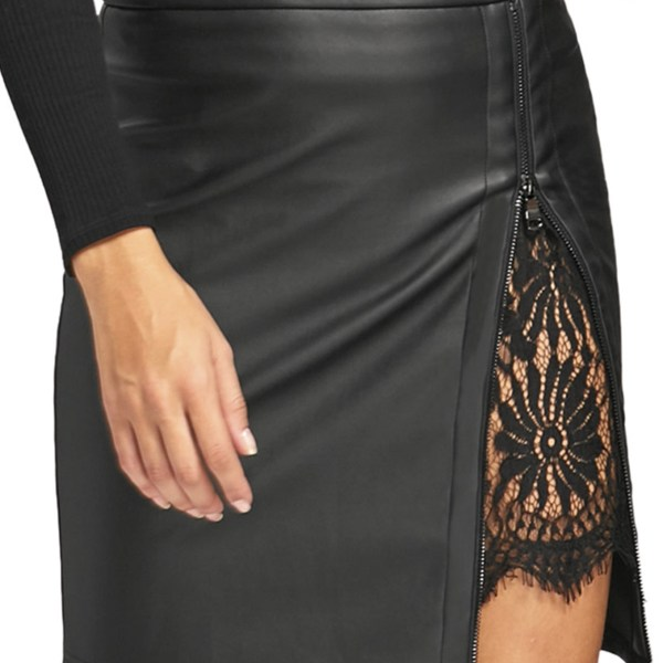 Black Lace Insert Zip Front Faux Leather Skirt 2