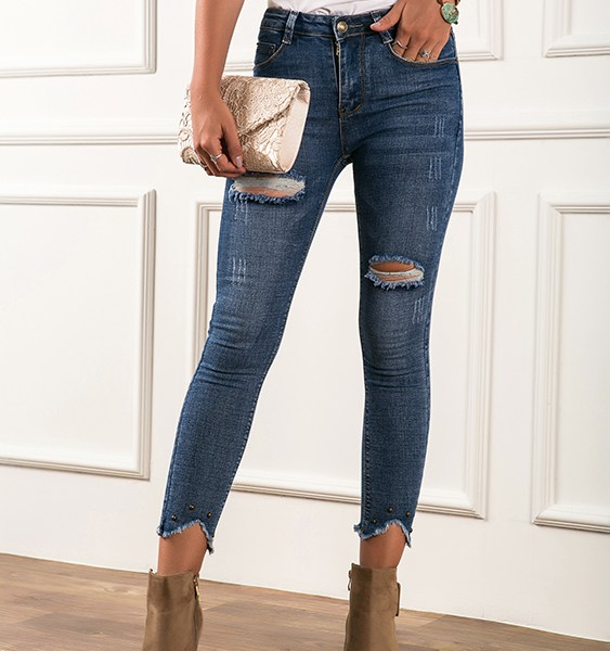 Blue Ripped Details Super Stretch Jeans 2
