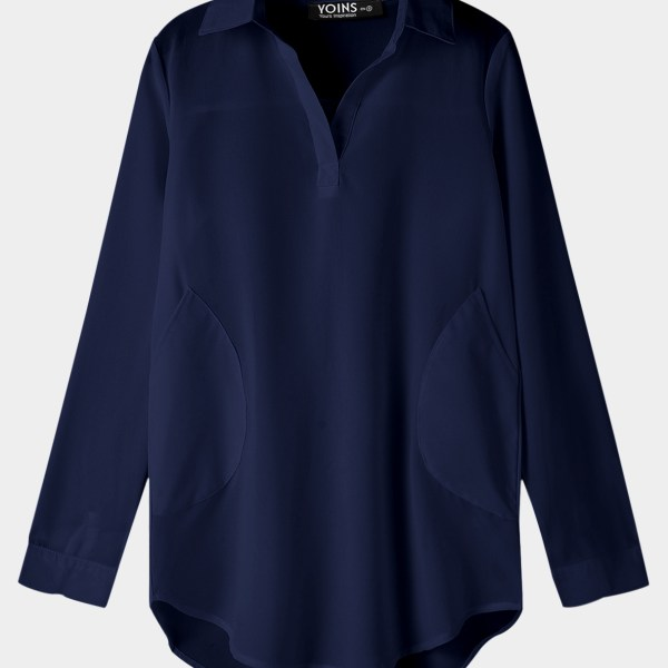 Navy Chiffon T-shirt Dress With Irregular Hem 2
