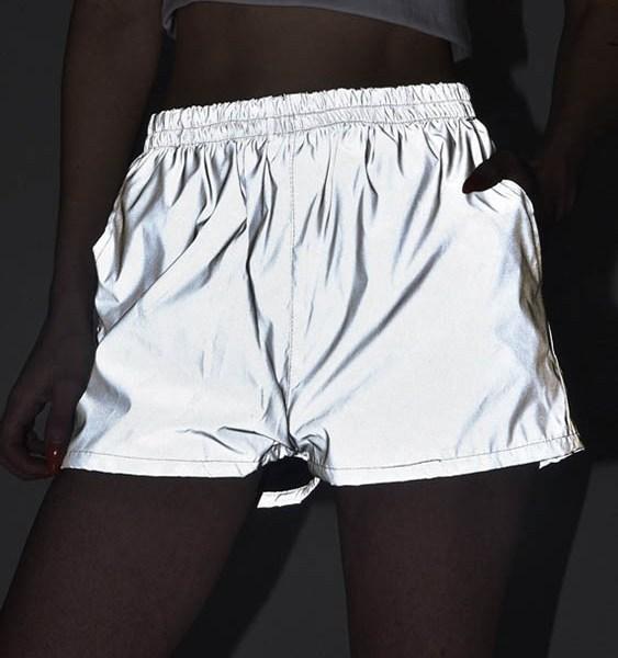 Grey Reflective Side Pockets High-Waisted Pants 2