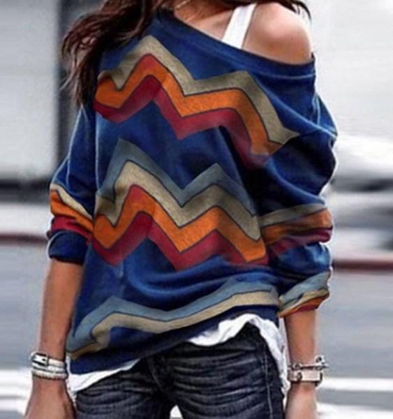Navy Color Block Random Stripe One Shoulder Knit Tee 2