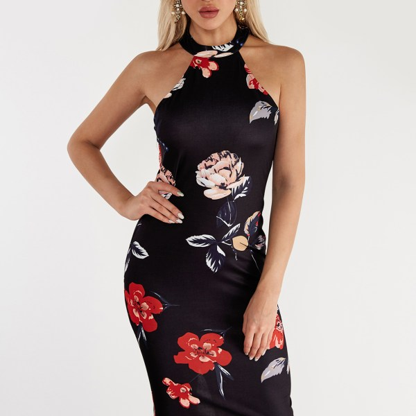 Black Zip Design Random Floral Print Halter Midi Dress 2